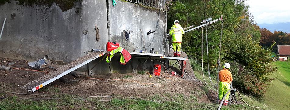Sanierung Stützmauer Wald